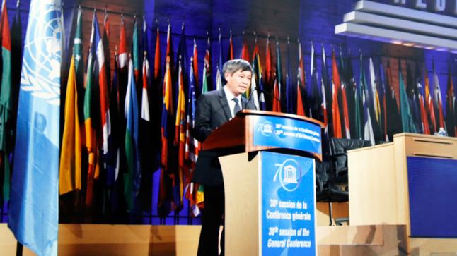 Thứ trưởng Phạm Công Tạc báo cáo tại Đại hội đồng UNESCO